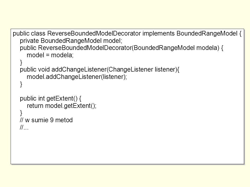 public class ReverseBoundedModelDecorator implements BoundedRangeModel { private BoundedRangeModel model; public ReverseBoundedModelDecorator(BoundedRangeModel modela) { model = modela; } public void addChangeListener(ChangeListener listener){ model.addChangeListener(listener); } public int getExtent() { return model.getExtent(); } // w sumie 9 metod //...