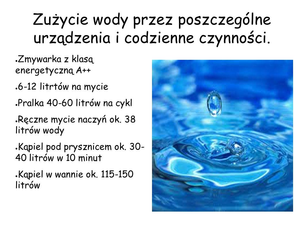 Zużycie wody przez poszczególne urządzenia i codzienne czynności. ● Zmywarka z klasą energetyczną A++ ● 6-12 litrtów na mycie ● Pralka 40-60 litrów na