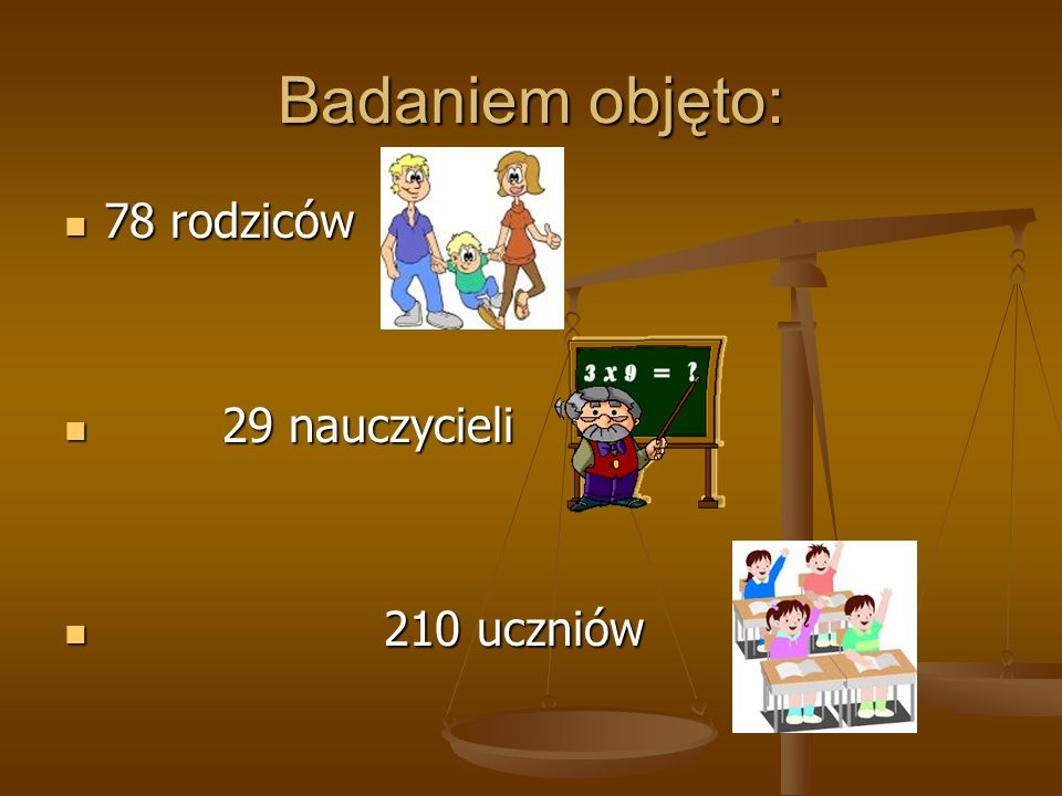 Badaniem objęto: 78 rodziców 78 rodziców 29 nauczycieli 29 nauczycieli 210 uczniów 210 uczniów