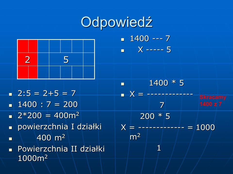 Odpowiedź 1400 --- 7 1400 --- 7 X ----- 5 X ----- 5 1400 * 5 1400 * 5 X = ------------- X = ------------- 7 200 * 5 200 * 5 X = ------------- = 1000 m 2 1 25 2:5 = 2+5 = 7 2:5 = 2+5 = 7 1400 : 7 = 200 1400 : 7 = 200 2*200 = 400m 2 2*200 = 400m 2 powierzchnia I działki powierzchnia I działki 400 m 2 400 m 2 Powierzchnia II działki 1000m 2 Powierzchnia II działki 1000m 2 Skracamy 1400 z 7