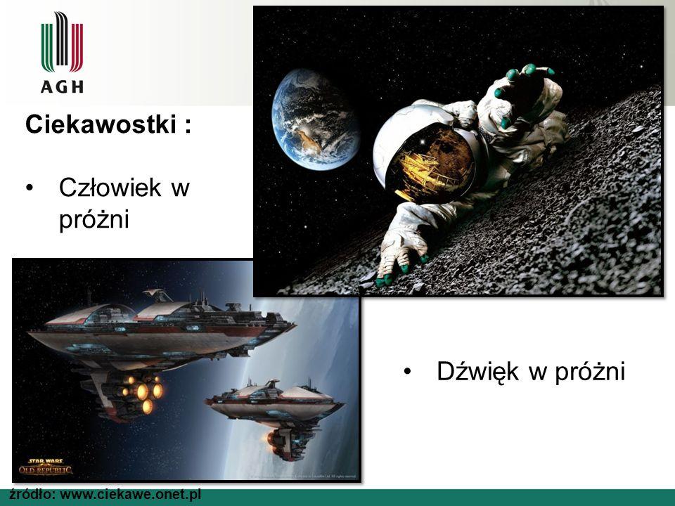 źródło: www.ciekawe.onet.pl Ciekawostki : Człowiek w próżni Dźwięk w próżni