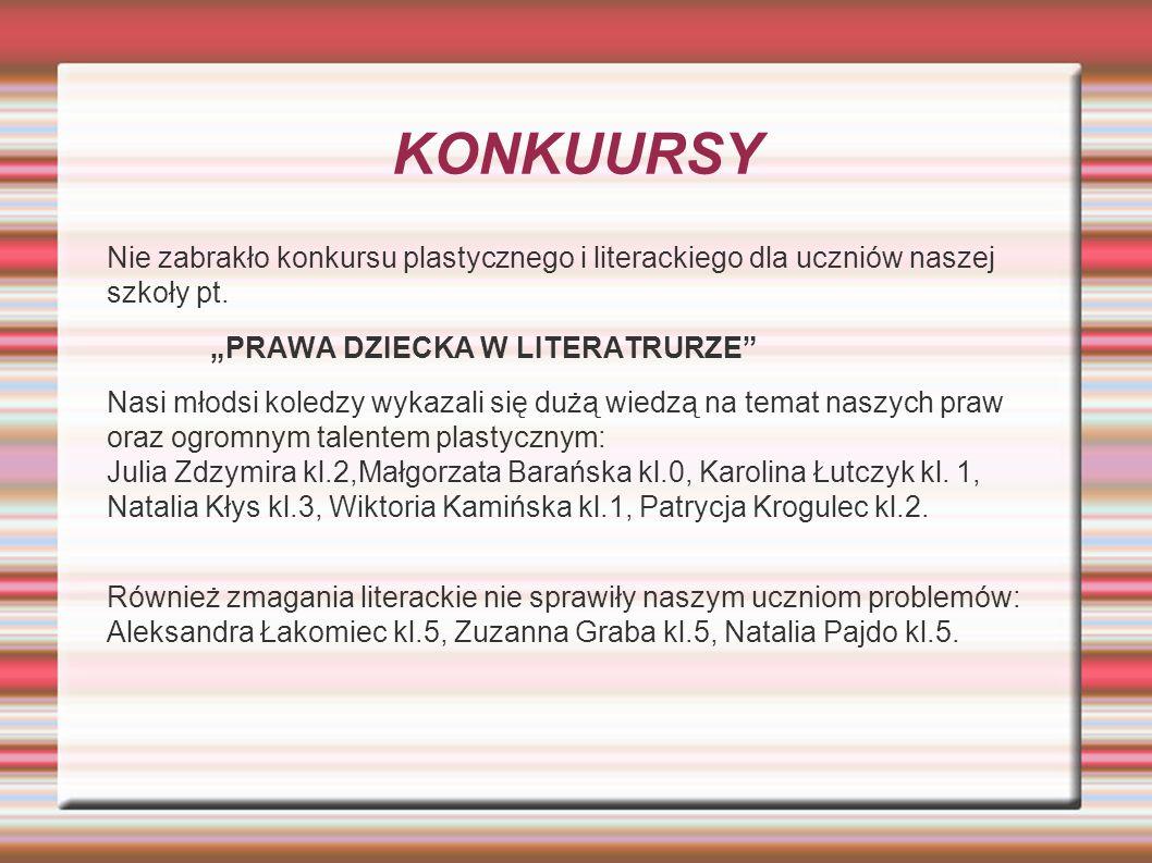 KONKUURSY Nie zabrakło konkursu plastycznego i literackiego dla uczniów naszej szkoły pt.