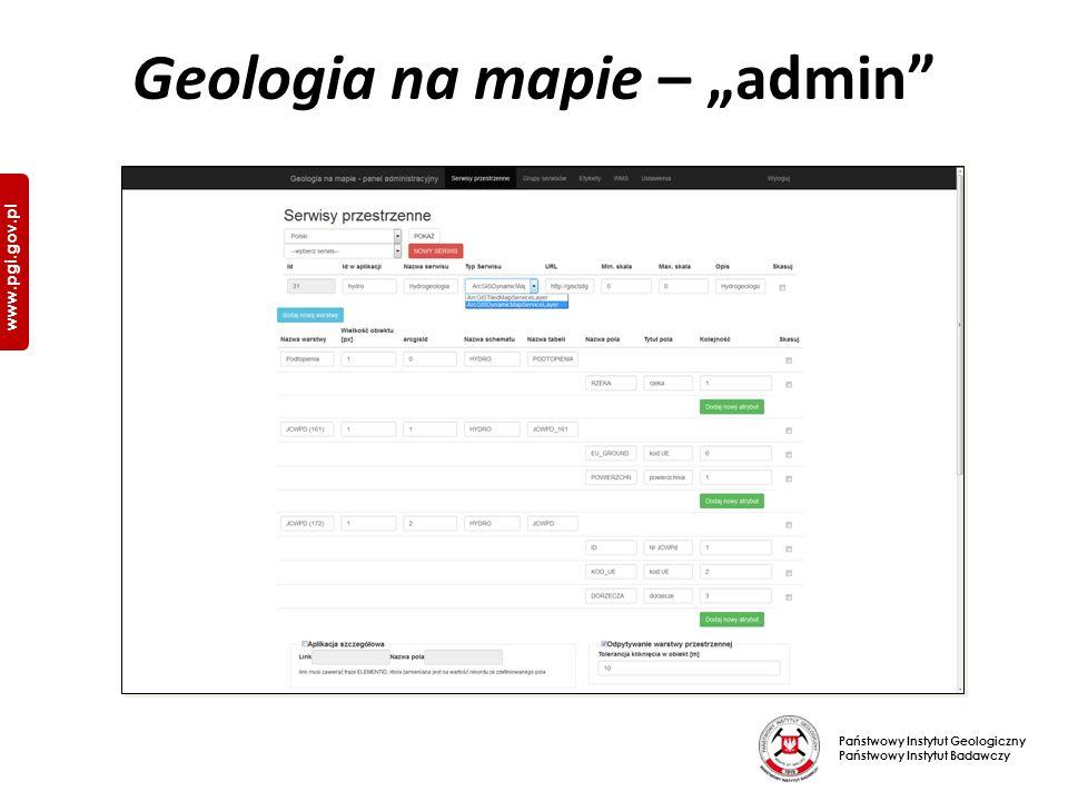 """Państwowy Instytut Geologiczny Państwowy Instytut Badawczy www.pgi.gov.pl Geologia na mapie – """"admin"""