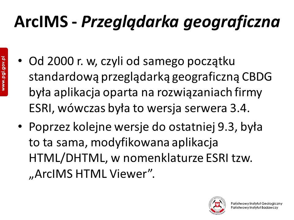 Państwowy Instytut Geologiczny Państwowy Instytut Badawczy www.pgi.gov.pl ArcIMS - Przeglądarka geograficzna Od 2000 r.