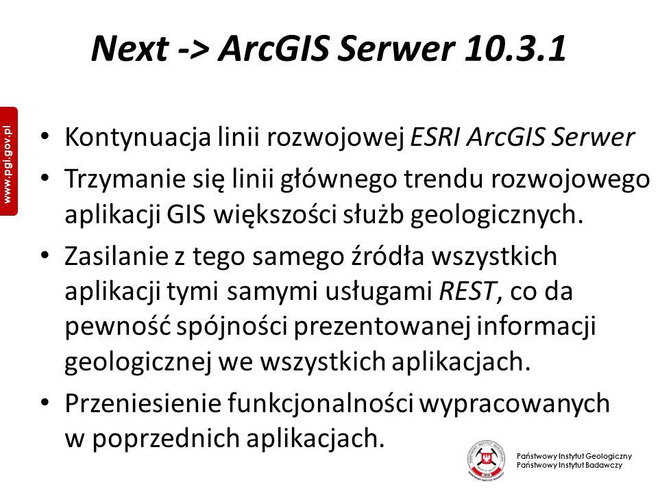 Państwowy Instytut Geologiczny Państwowy Instytut Badawczy www.pgi.gov.pl Next -> ArcGIS Serwer 10.3.1 Kontynuacja linii rozwojowej ESRI ArcGIS Serwer Trzymanie się linii głównego trendu rozwojowego aplikacji GIS większości służb geologicznych.
