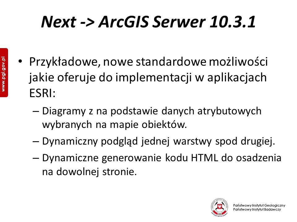 Państwowy Instytut Geologiczny Państwowy Instytut Badawczy www.pgi.gov.pl Next -> ArcGIS Serwer 10.3.1 Przykładowe, nowe standardowe możliwości jakie oferuje do implementacji w aplikacjach ESRI: – Diagramy z na podstawie danych atrybutowych wybranych na mapie obiektów.