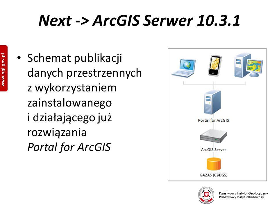 Państwowy Instytut Geologiczny Państwowy Instytut Badawczy www.pgi.gov.pl Next -> ArcGIS Serwer 10.3.1 Schemat publikacji danych przestrzennych z wykorzystaniem zainstalowanego i działającego już rozwiązania Portal for ArcGIS