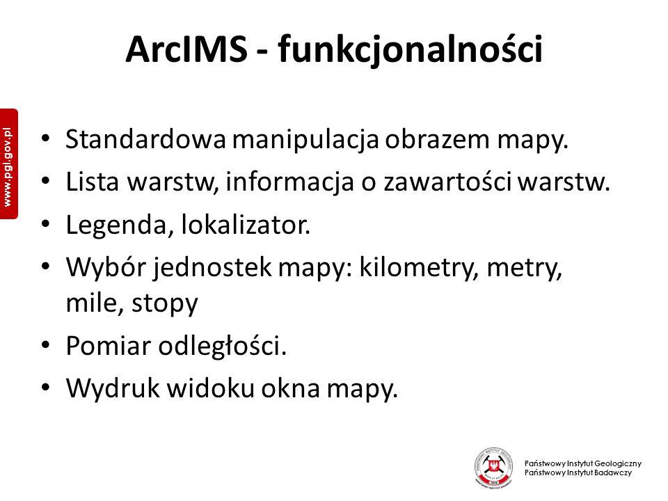 Państwowy Instytut Geologiczny Państwowy Instytut Badawczy www.pgi.gov.pl ArcIMS - funkcjonalności Standardowa manipulacja obrazem mapy.