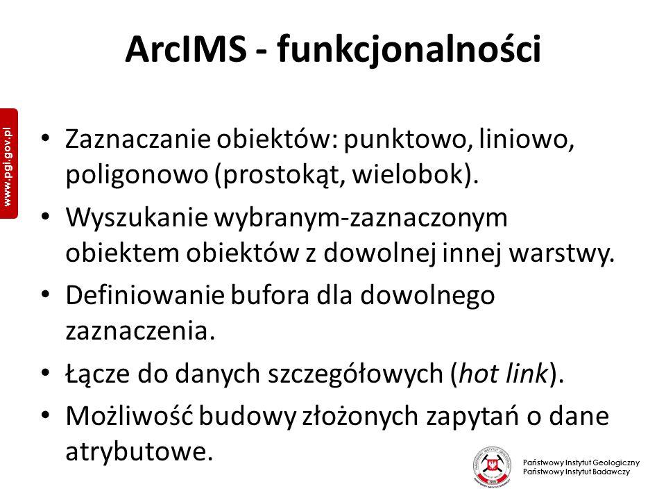Państwowy Instytut Geologiczny Państwowy Instytut Badawczy www.pgi.gov.pl ArcIMS - funkcjonalności Zaznaczanie obiektów: punktowo, liniowo, poligonowo (prostokąt, wielobok).