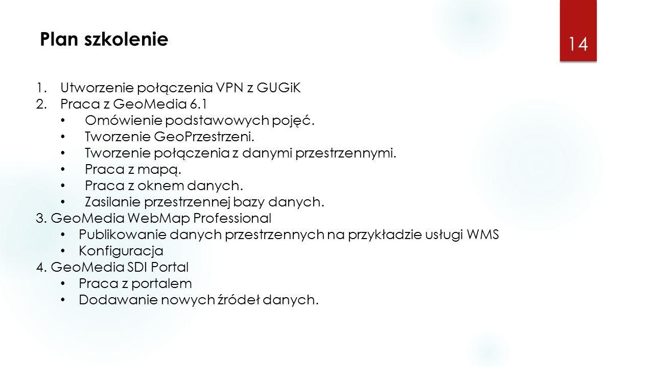 Plan szkolenie 14 1.Utworzenie połączenia VPN z GUGiK 2.Praca z GeoMedia 6.1 Omówienie podstawowych pojęć.