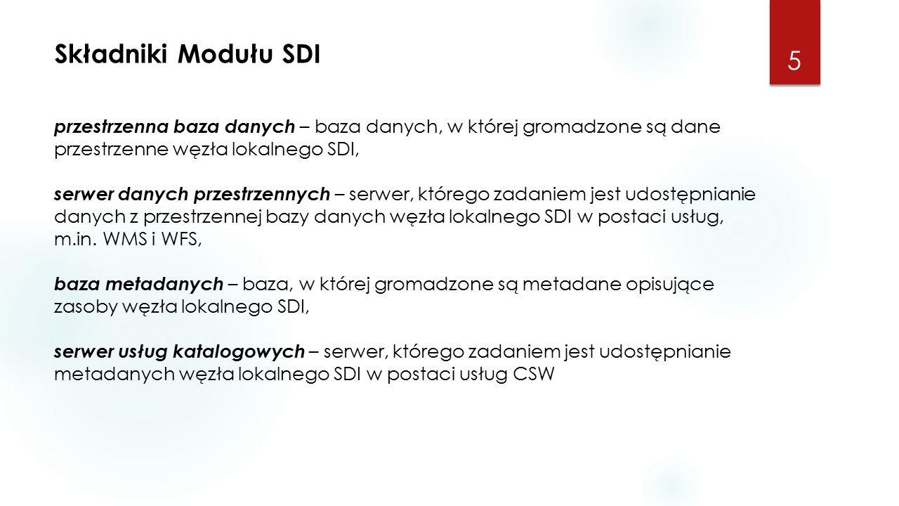 Składniki Modułu SDI 5 przestrzenna baza danych – baza danych, w której gromadzone są dane przestrzenne węzła lokalnego SDI, serwer danych przestrzennych – serwer, którego zadaniem jest udostępnianie danych z przestrzennej bazy danych węzła lokalnego SDI w postaci usług, m.in.