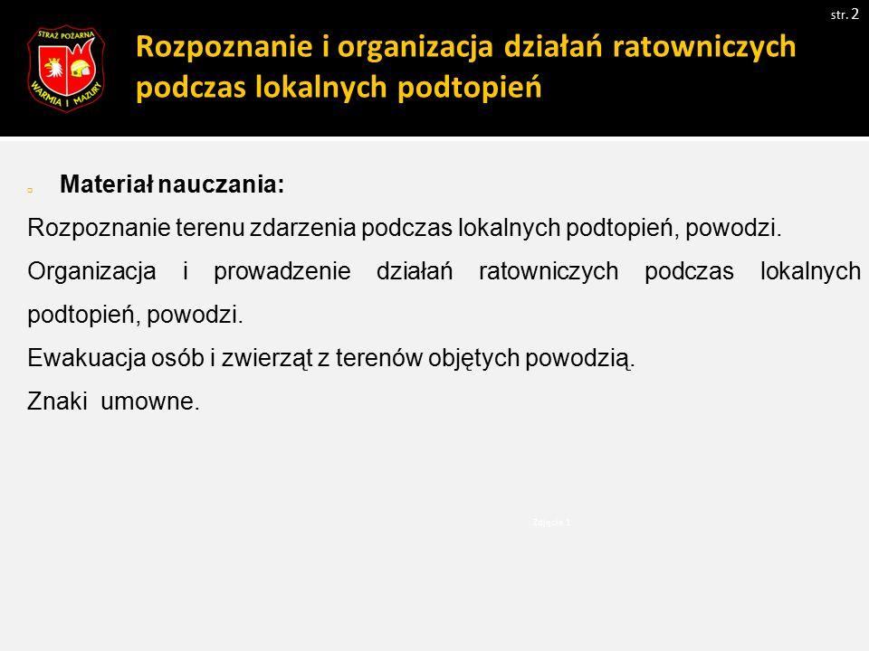 Rozpoznanie i organizacja działań ratowniczych podczas lokalnych podtopień  Materiał nauczania: Rozpoznanie terenu zdarzenia podczas lokalnych podtop