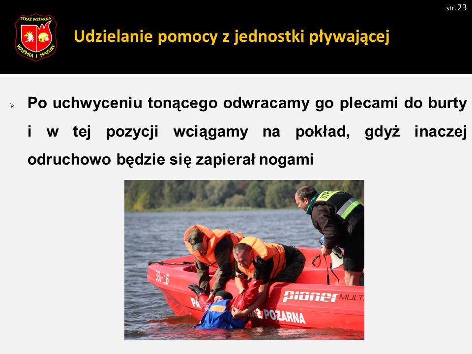 Udzielanie pomocy z jednostki pływającej  Po uchwyceniu tonącego odwracamy go plecami do burty i w tej pozycji wciągamy na pokład, gdyż inaczej odruc