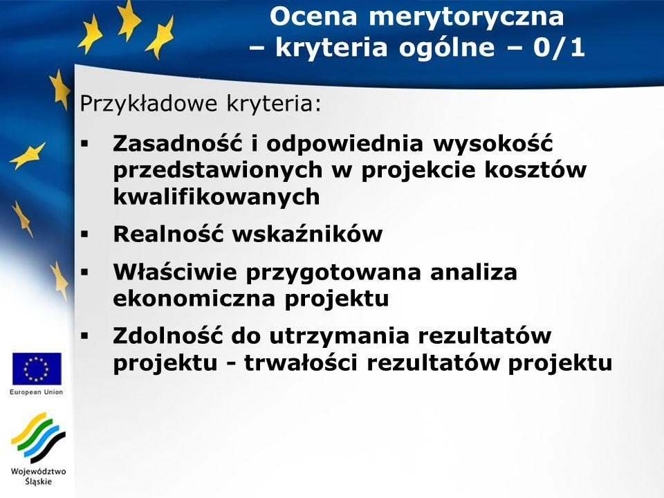Ocena merytoryczna – kryteria ogólne – 0/1 Przykładowe kryteria:  Zasadność i odpowiednia wysokość przedstawionych w projekcie kosztów kwalifikowanych  Realność wskaźników  Właściwie przygotowana analiza ekonomiczna projektu  Zdolność do utrzymania rezultatów projektu - trwałości rezultatów projektu