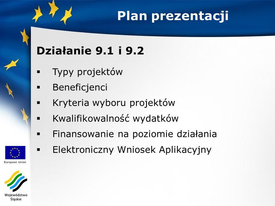 Plan prezentacji Działanie 9.1 i 9.2  Typy projektów  Beneficjenci  Kryteria wyboru projektów  Kwalifikowalność wydatków  Finansowanie na poziomie działania  Elektroniczny Wniosek Aplikacyjny