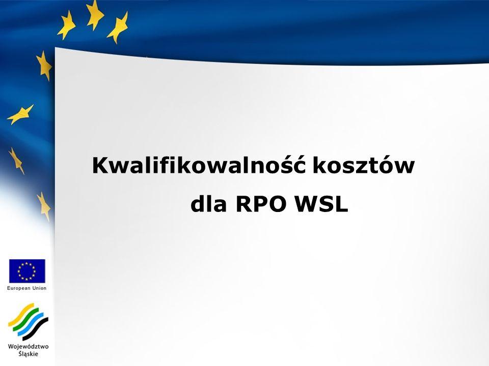 Kwalifikowalność kosztów dla RPO WSL