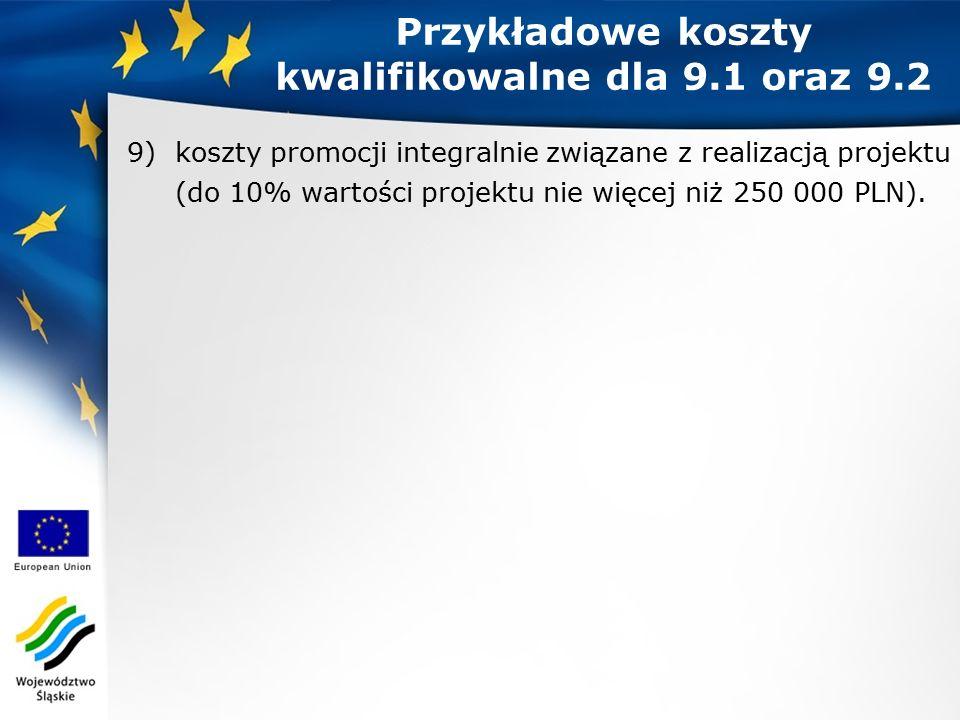 9)koszty promocji integralnie związane z realizacją projektu (do 10% wartości projektu nie więcej niż 250 000 PLN).