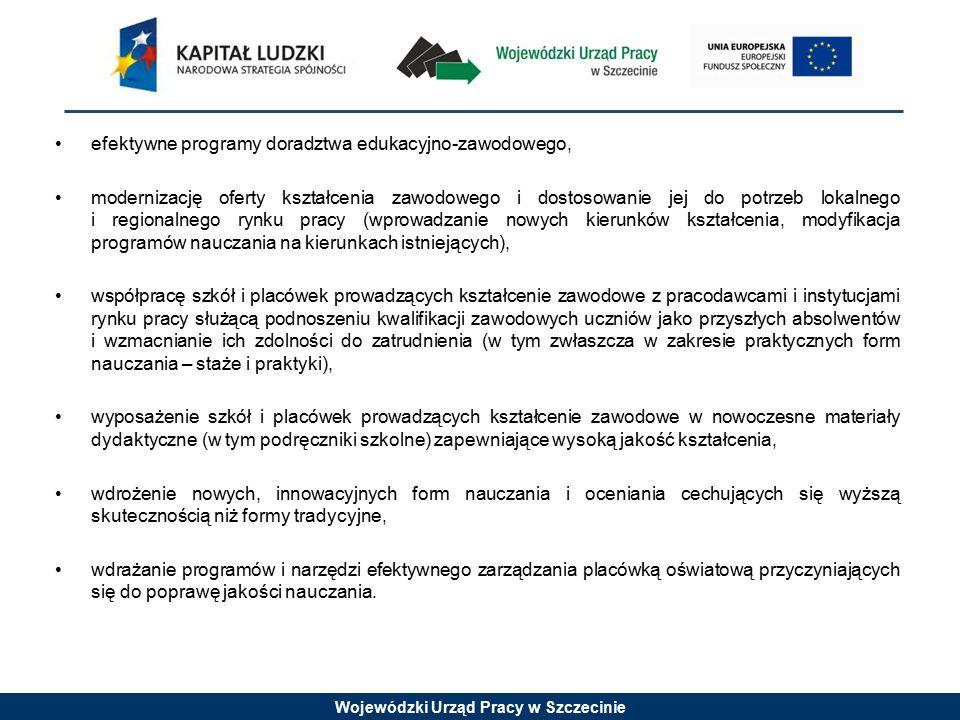 Wojewódzki Urząd Pracy w Szczecinie efektywne programy doradztwa edukacyjno-zawodowego, modernizację oferty kształcenia zawodowego i dostosowanie jej do potrzeb lokalnego i regionalnego rynku pracy (wprowadzanie nowych kierunków kształcenia, modyfikacja programów nauczania na kierunkach istniejących), współpracę szkół i placówek prowadzących kształcenie zawodowe z pracodawcami i instytucjami rynku pracy służącą podnoszeniu kwalifikacji zawodowych uczniów jako przyszłych absolwentów i wzmacnianie ich zdolności do zatrudnienia (w tym zwłaszcza w zakresie praktycznych form nauczania – staże i praktyki), wyposażenie szkół i placówek prowadzących kształcenie zawodowe w nowoczesne materiały dydaktyczne (w tym podręczniki szkolne) zapewniające wysoką jakość kształcenia, wdrożenie nowych, innowacyjnych form nauczania i oceniania cechujących się wyższą skutecznością niż formy tradycyjne, wdrażanie programów i narzędzi efektywnego zarządzania placówką oświatową przyczyniających się do poprawę jakości nauczania.