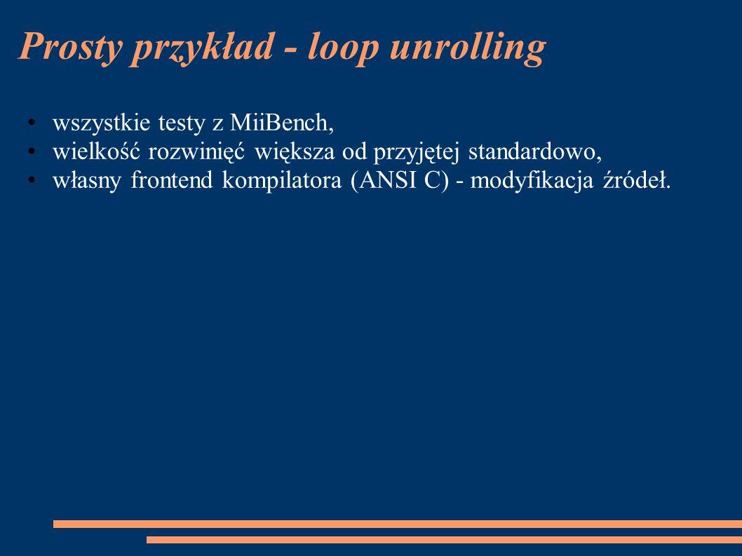 Prosty przykład - loop unrolling wszystkie testy z MiiBench, wielkość rozwinięć większa od przyjętej standardowo, własny frontend kompilatora (ANSI C) - modyfikacja źródeł.