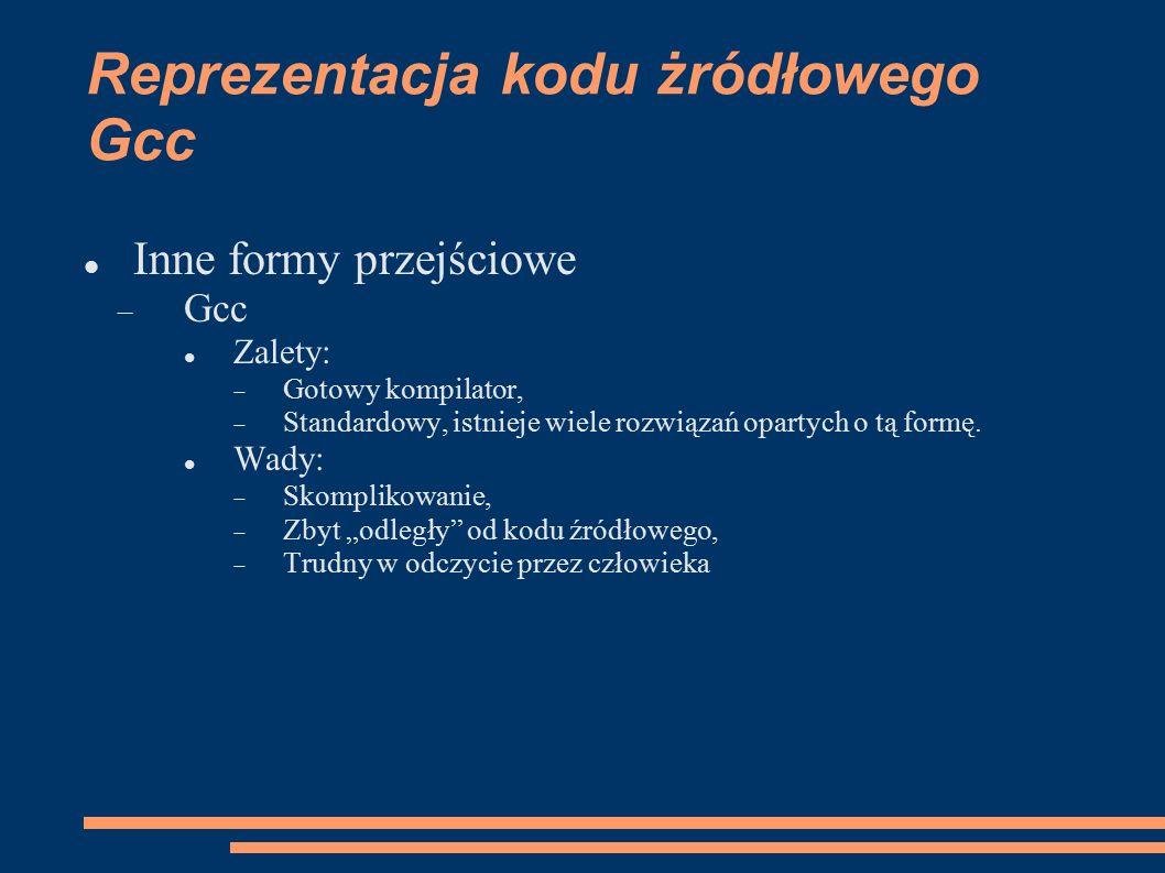Reprezentacja kodu żródłowego Gcc Inne formy przejściowe  Gcc Zalety:  Gotowy kompilator,  Standardowy, istnieje wiele rozwiązań opartych o tą formę.