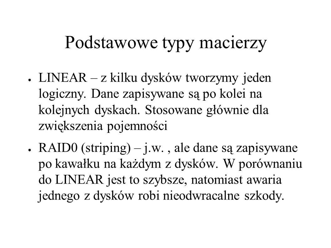 Podstawowe typy macierzy ● LINEAR – z kilku dysków tworzymy jeden logiczny.