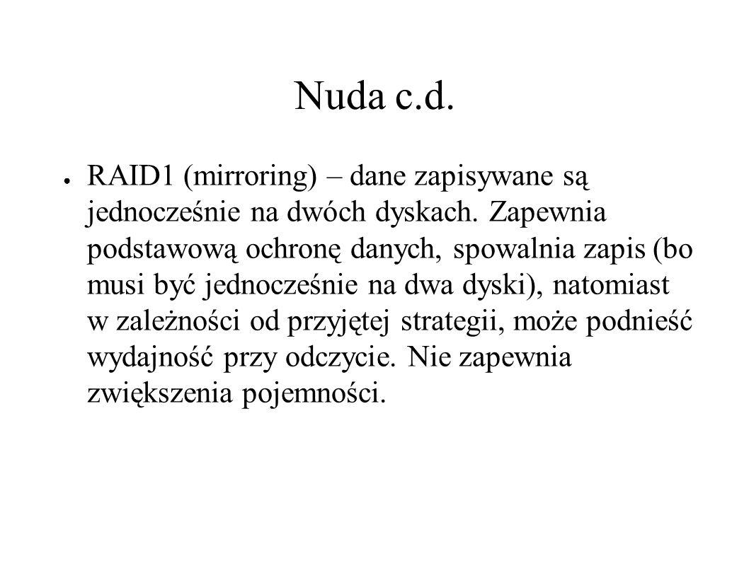 Nuda c.d. ● RAID1 (mirroring) – dane zapisywane są jednocześnie na dwóch dyskach.