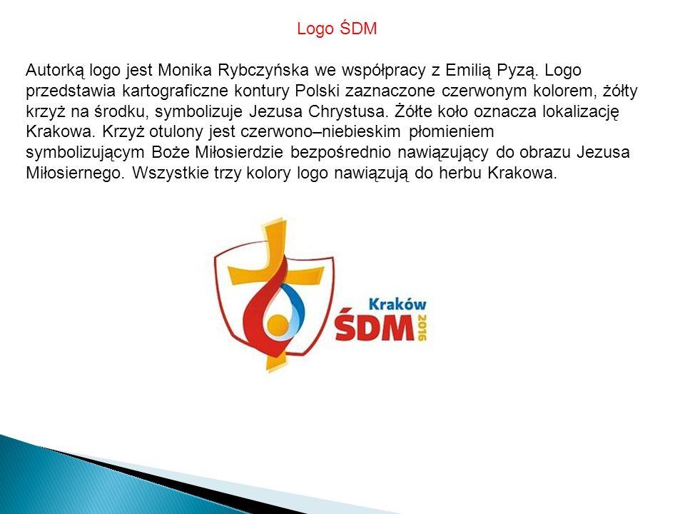 Logo ŚDM Autorką logo jest Monika Rybczyńska we współpracy z Emilią Pyzą.