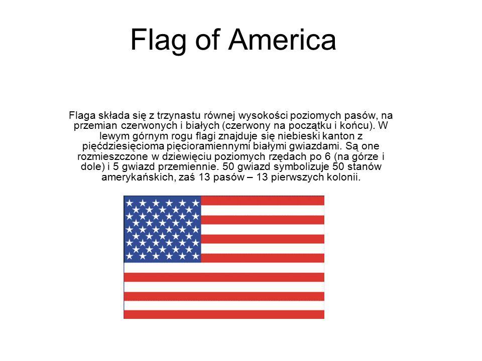 Flag of America Flaga składa się z trzynastu równej wysokości poziomych pasów, na przemian czerwonych i białych (czerwony na początku i końcu). W lewy
