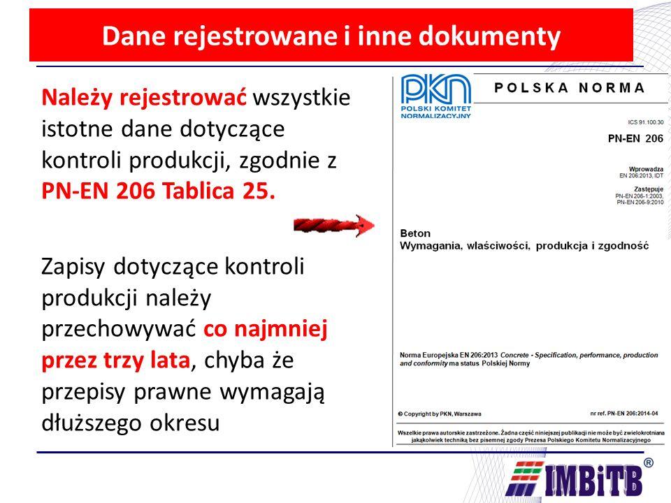 Dane rejestrowane i inne dokumenty Należy rejestrować wszystkie istotne dane dotyczące kontroli produkcji, zgodnie z PN-EN 206 Tablica 25.