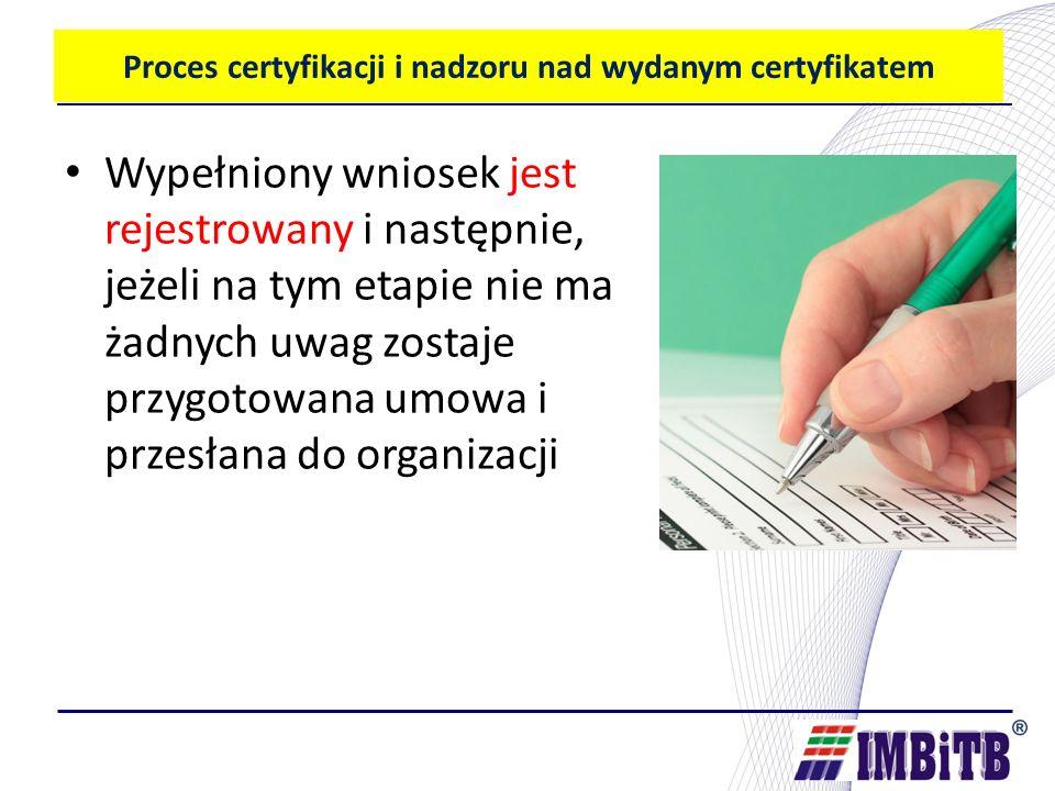 Proces certyfikacji i nadzoru nad wydanym certyfikatem Wypełniony wniosek jest rejestrowany i następnie, jeżeli na tym etapie nie ma żadnych uwag zostaje przygotowana umowa i przesłana do organizacji