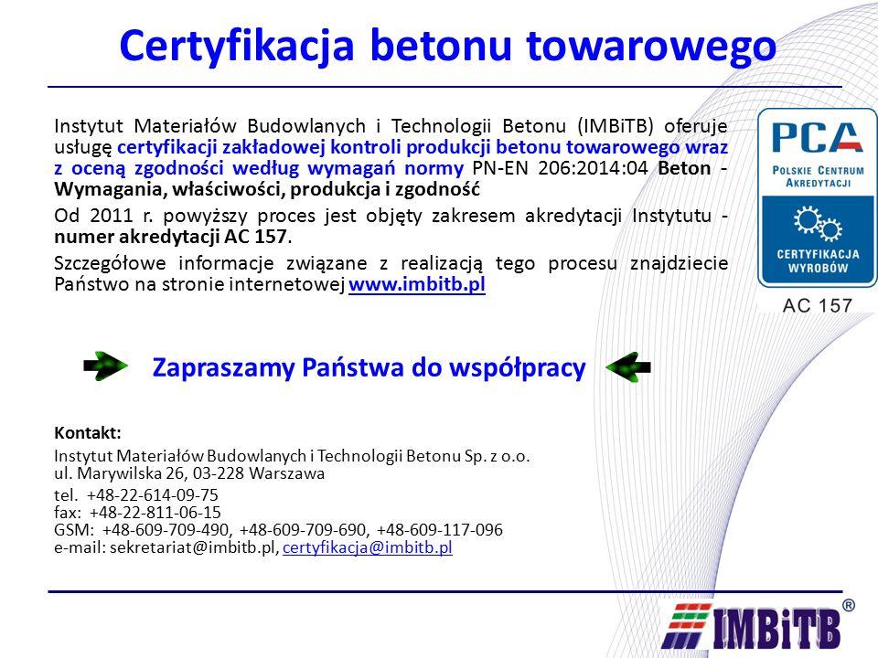 Certyfikacja betonu towarowego Instytut Materiałów Budowlanych i Technologii Betonu (IMBiTB) oferuje usługę certyfikacji zakładowej kontroli produkcji betonu towarowego wraz z oceną zgodności według wymagań normy PN-EN 206:2014:04 Beton - Wymagania, właściwości, produkcja i zgodność Od 2011 r.