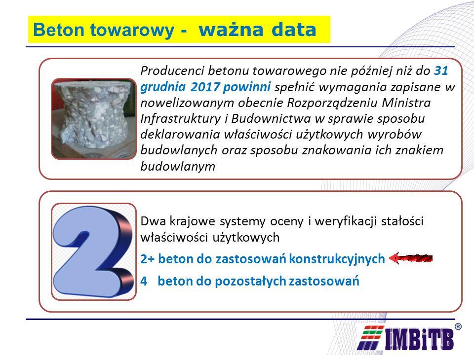 Producenci betonu towarowego nie później niż do 31 grudnia 2017 powinni spełnić wymagania zapisane w nowelizowanym obecnie Rozporządzeniu Ministra Infrastruktury i Budownictwa w sprawie sposobu deklarowania właściwości użytkowych wyrobów budowlanych oraz sposobu znakowania ich znakiem budowlanym Dwa krajowe systemy oceny i weryfikacji stałości właściwości użytkowych 2+ beton do zastosowań konstrukcyjnych 4 beton do pozostałych zastosowań Beton towarowy - ważna data