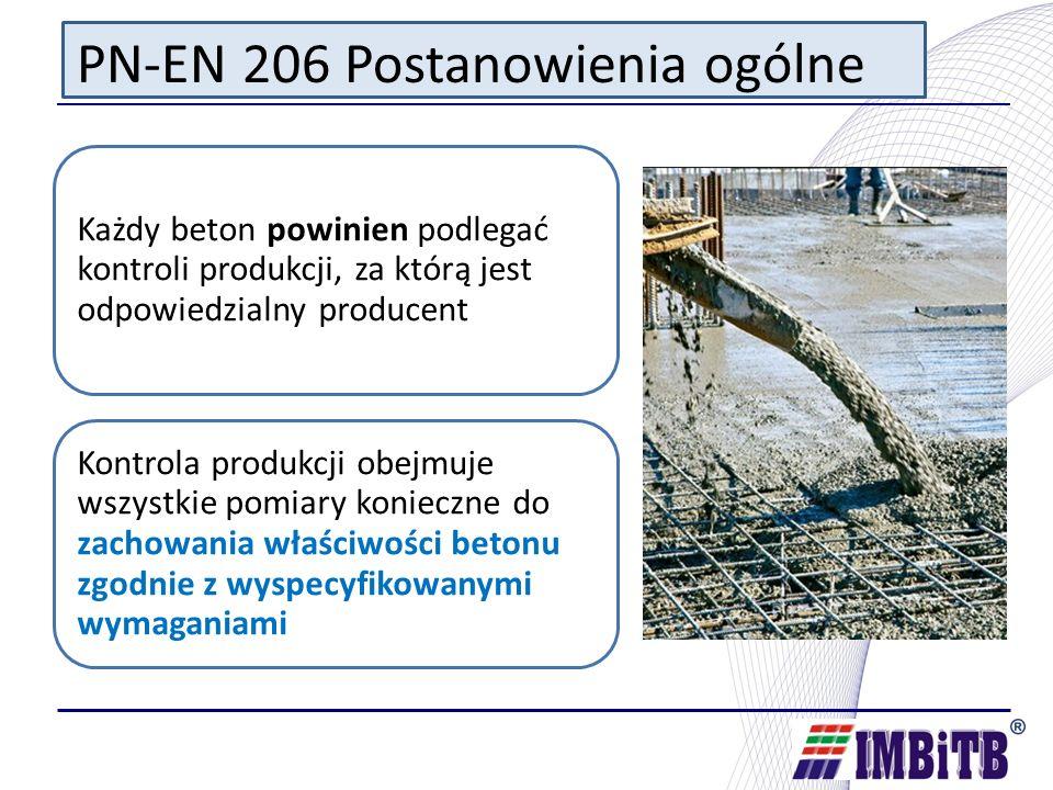 PN-EN 206 Postanowienia ogólne Kontrola produkcji obejmuje: o dobór składników; o skład betonu-projektowanie o produkcję betonu; o kontrole i badania; o wykorzystanie wyników badań składników, mieszanki betonowej i betonu stwardniałego; o wzorcowanie sprzętu; o w przypadkach, których to dotyczy, kontrolę sprzętu stosowanego do transportu mieszanki betonowej; o kontrolę zgodności