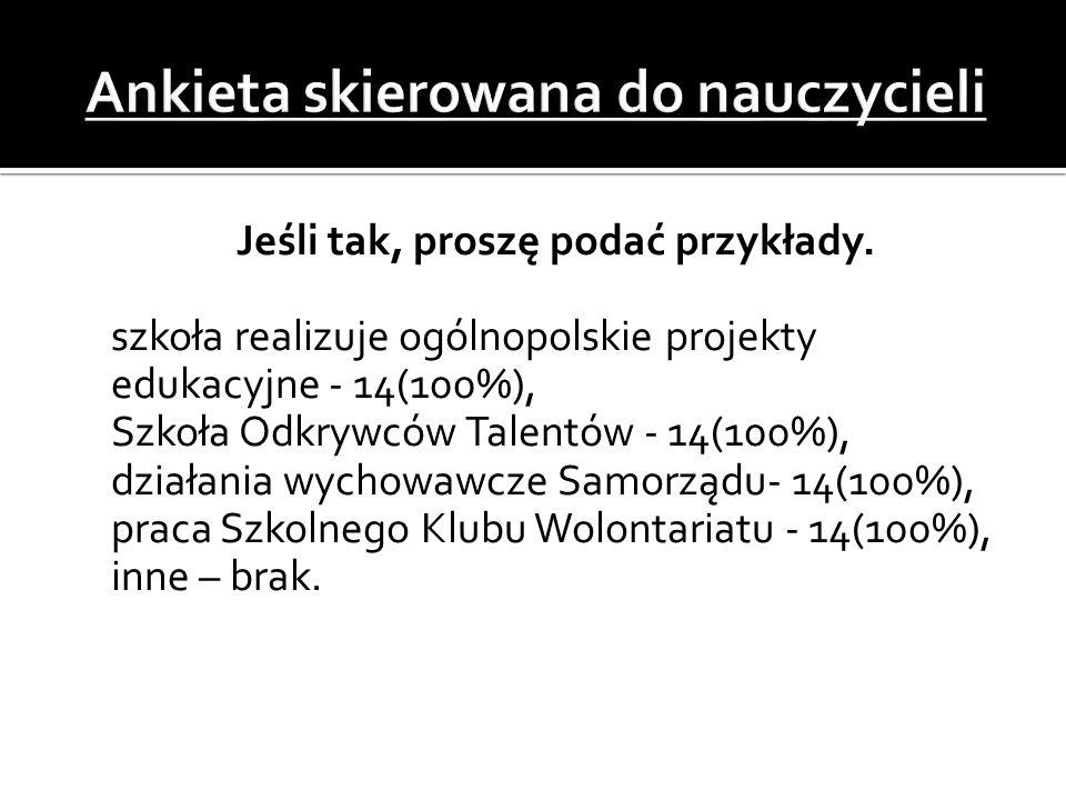  Jeśli tak, proszę podać przykłady.  szkoła realizuje ogólnopolskie projekty edukacyjne - 14(100%),  Szkoła Odkrywców Talentów - 14(100%),  działa