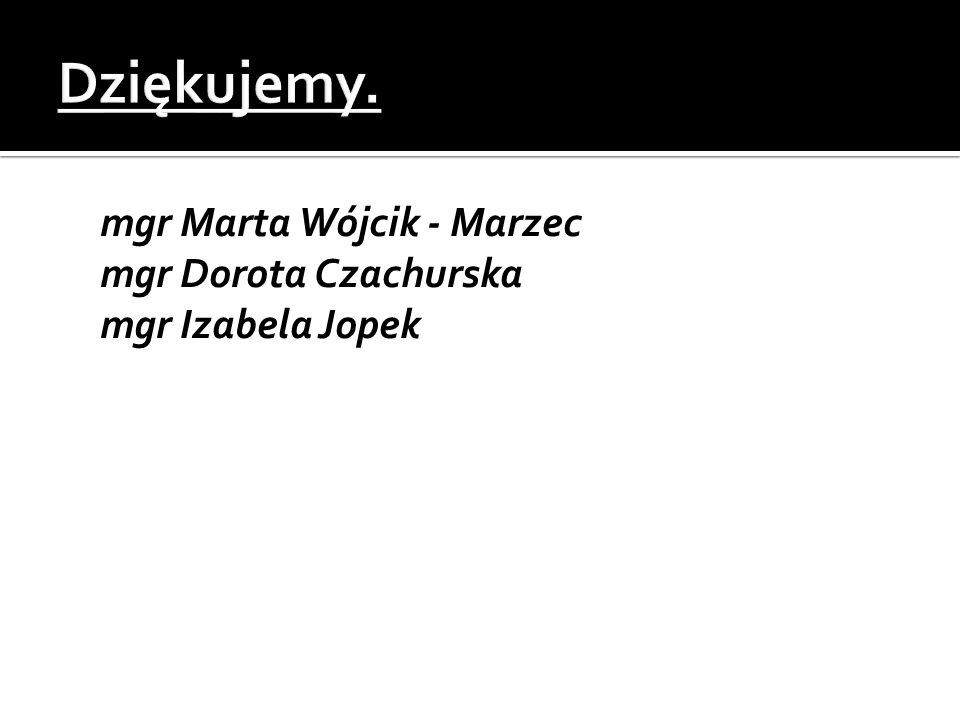  mgr Marta Wójcik - Marzec  mgr Dorota Czachurska  mgr Izabela Jopek