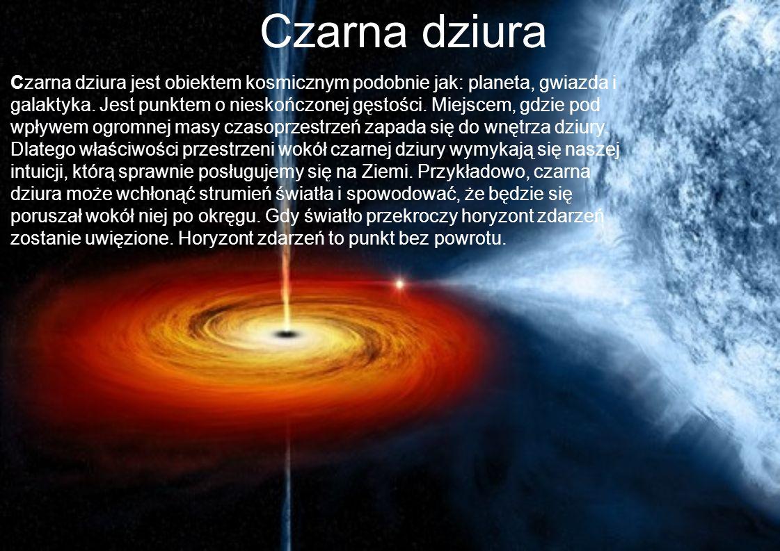 Czarna dziura »Czarna dziura jest obiektem kosmicznym podobnie jak: planeta, gwiazda i galaktyka. Jest punktem o nieskończonej gęstości. Miejscem, gdz