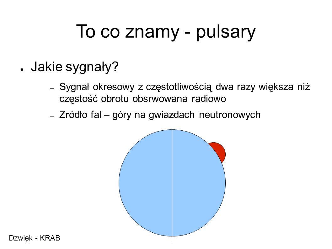 To co znamy - pulsary ● Jakie sygnały.