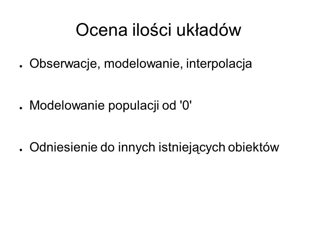 Ocena ilości układów ● Obserwacje, modelowanie, interpolacja ● Modelowanie populacji od 0 ● Odniesienie do innych istniejących obiektów
