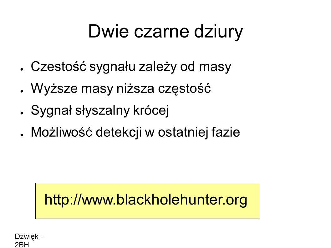 Dwie czarne dziury ● Czestość sygnału zależy od masy ● Wyższe masy niższa częstość ● Sygnał słyszalny krócej ● Możliwość detekcji w ostatniej fazie Dzwięk - 2BH http://www.blackholehunter.org