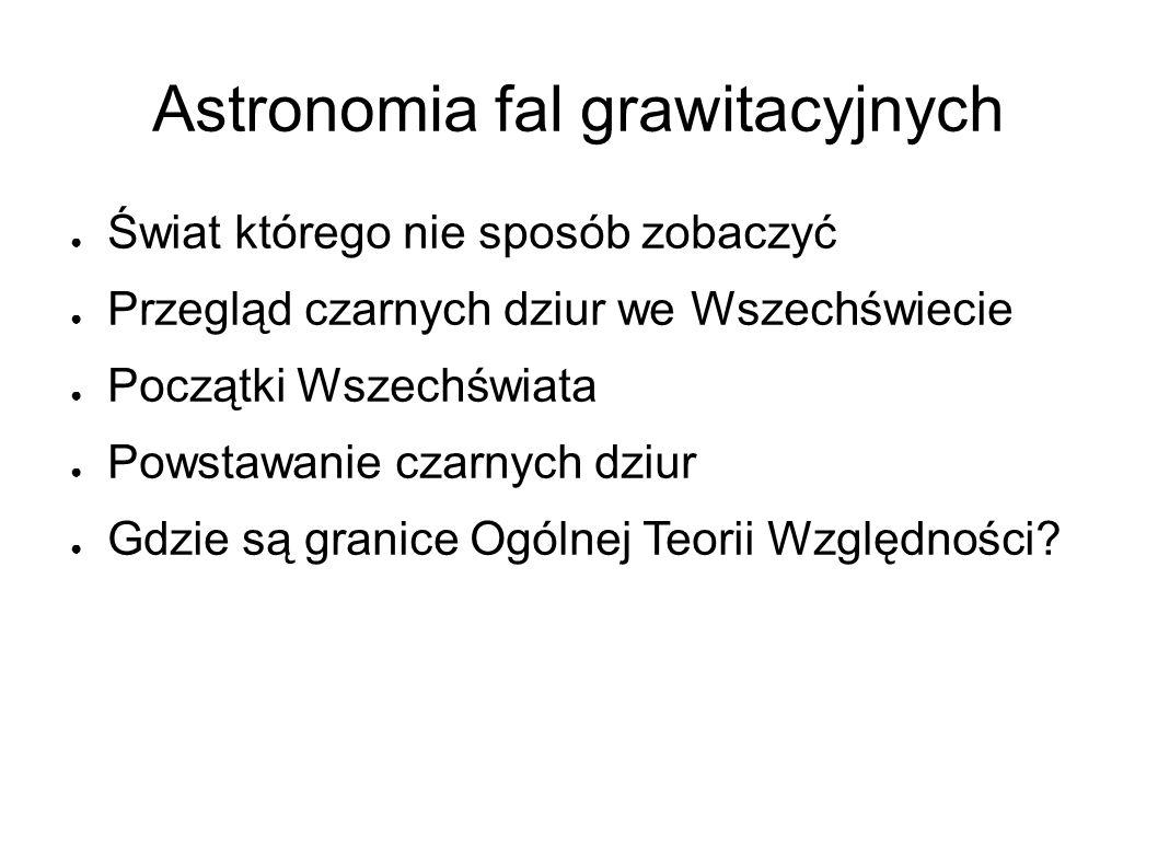 Astronomia fal grawitacyjnych ● Świat którego nie sposób zobaczyć ● Przegląd czarnych dziur we Wszechświecie ● Początki Wszechświata ● Powstawanie czarnych dziur ● Gdzie są granice Ogólnej Teorii Względności