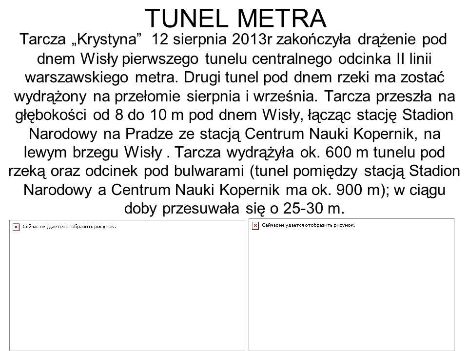 """TUNEL METRA Tarcza """"Krystyna 12 sierpnia 2013r zakończyła drążenie pod dnem Wisły pierwszego tunelu centralnego odcinka II linii warszawskiego metra."""
