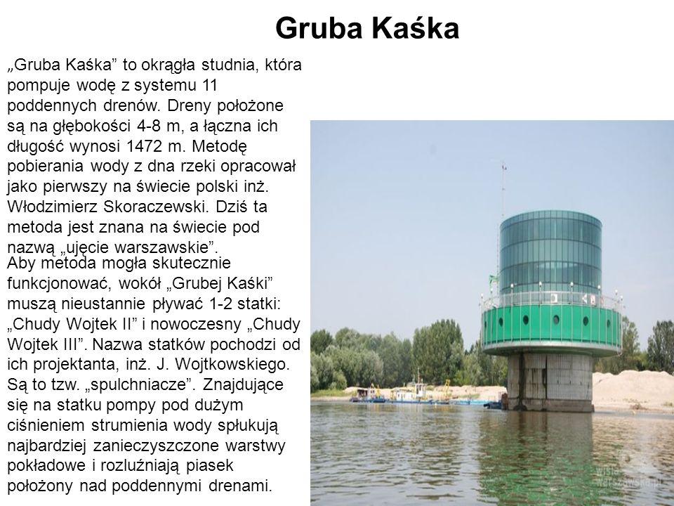 """"""" Gruba Kaśka"""" to okrągła studnia, która pompuje wodę z systemu 11 poddennych drenów. Dreny położone są na głębokości 4-8 m, a łączna ich długość wyno"""