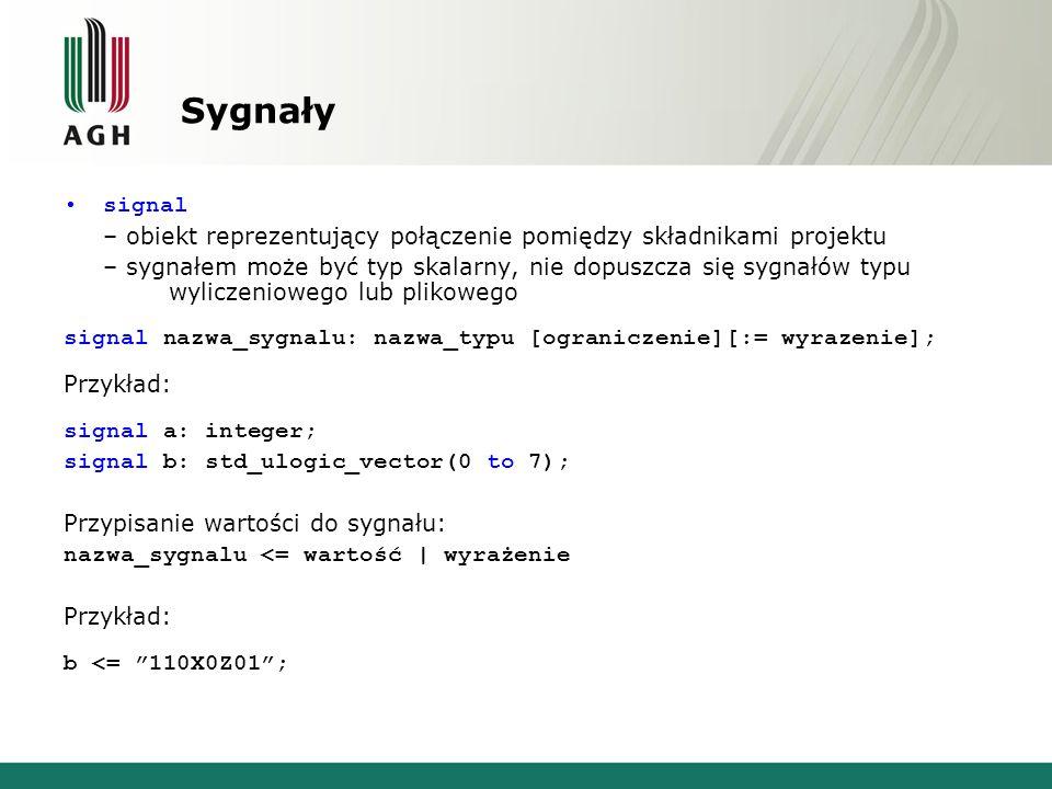 Sygnały signal – obiekt reprezentujący połączenie pomiędzy składnikami projektu – sygnałem może być typ skalarny, nie dopuszcza się sygnałów typu wyliczeniowego lub plikowego signal nazwa_sygnalu: nazwa_typu [ograniczenie][:= wyrazenie]; Przykład: signal a: integer; signal b: std_ulogic_vector(0 to 7); Przypisanie wartości do sygnału: nazwa_sygnalu <= wartość | wyrażenie Przykład: b <= 110X0Z01 ;