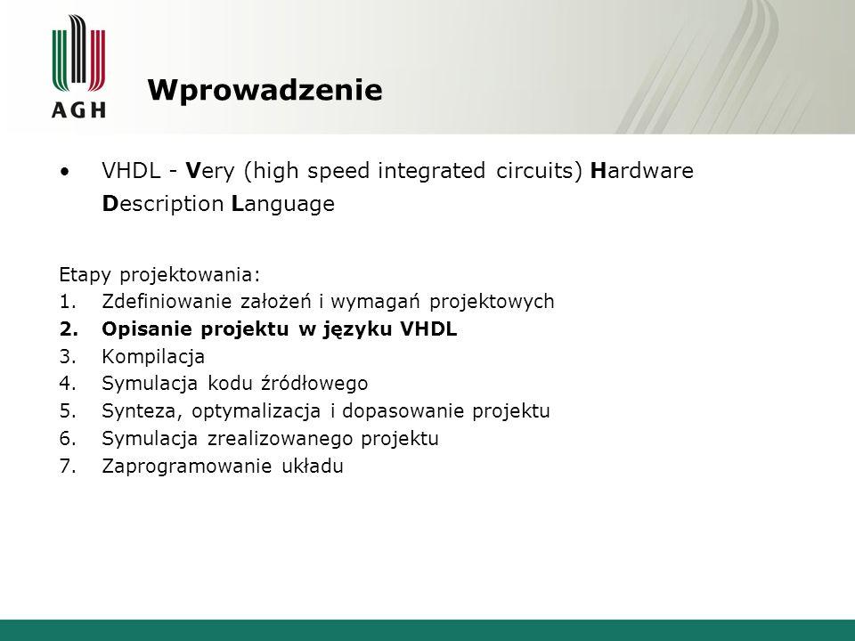 Wprowadzenie VHDL - Very (high speed integrated circuits) Hardware Description Language Etapy projektowania: 1.Zdefiniowanie założeń i wymagań projektowych 2.Opisanie projektu w języku VHDL 3.Kompilacja 4.Symulacja kodu źródłowego 5.Synteza, optymalizacja i dopasowanie projektu 6.Symulacja zrealizowanego projektu 7.Zaprogramowanie układu