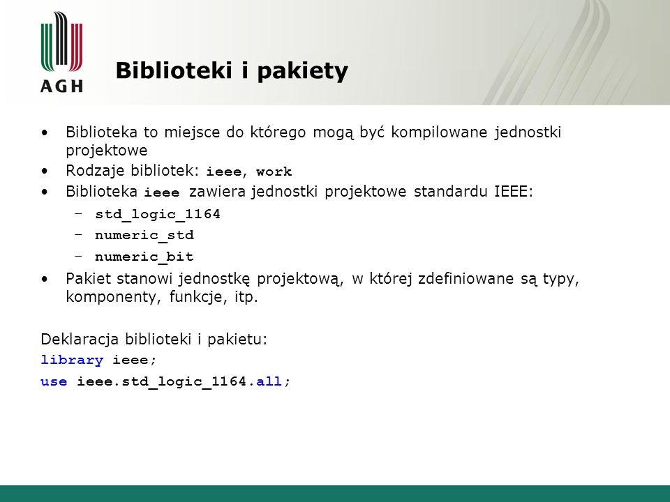 Biblioteki i pakiety Biblioteka to miejsce do którego mogą być kompilowane jednostki projektowe Rodzaje bibliotek: ieee, work Biblioteka ieee zawiera jednostki projektowe standardu IEEE: –std_logic_1164 –numeric_std –numeric_bit Pakiet stanowi jednostkę projektową, w której zdefiniowane są typy, komponenty, funkcje, itp.