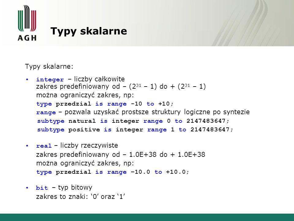 Typy skalarne Typy skalarne: integer – liczby całkowite zakres predefiniowany od – (2 31 – 1) do + (2 31 – 1) można ograniczyć zakres, np: type przedzial is range -10 to +10; range – pozwala uzyskać prostsze struktury logiczne po syntezie subtype natural is integer range 0 to 2147483647; subtype positive is integer range 1 to 2147483647; real – liczby rzeczywiste zakres predefiniowany od – 1.0E+38 do + 1.0E+38 można ograniczyć zakres, np: type przedzial is range –10.0 to +10.0; bit – typ bitowy zakres to znaki: '0' oraz '1'