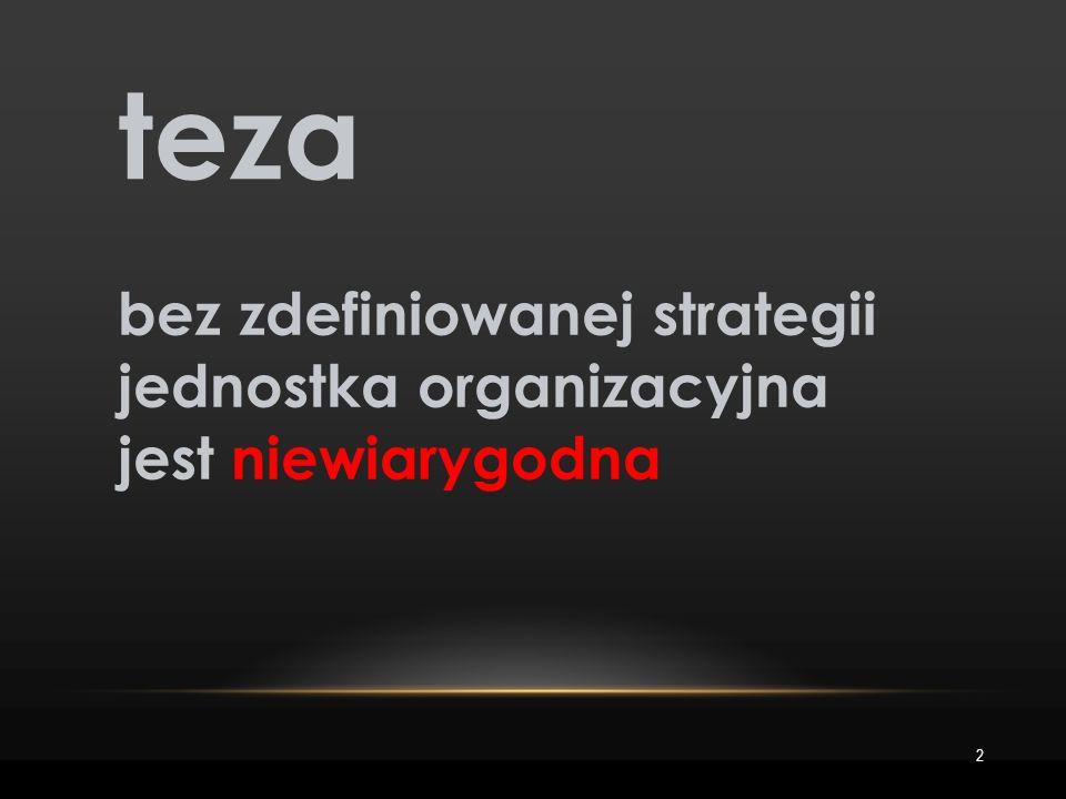 2 teza bez zdefiniowanej strategii jednostka organizacyjna jest niewiarygodna