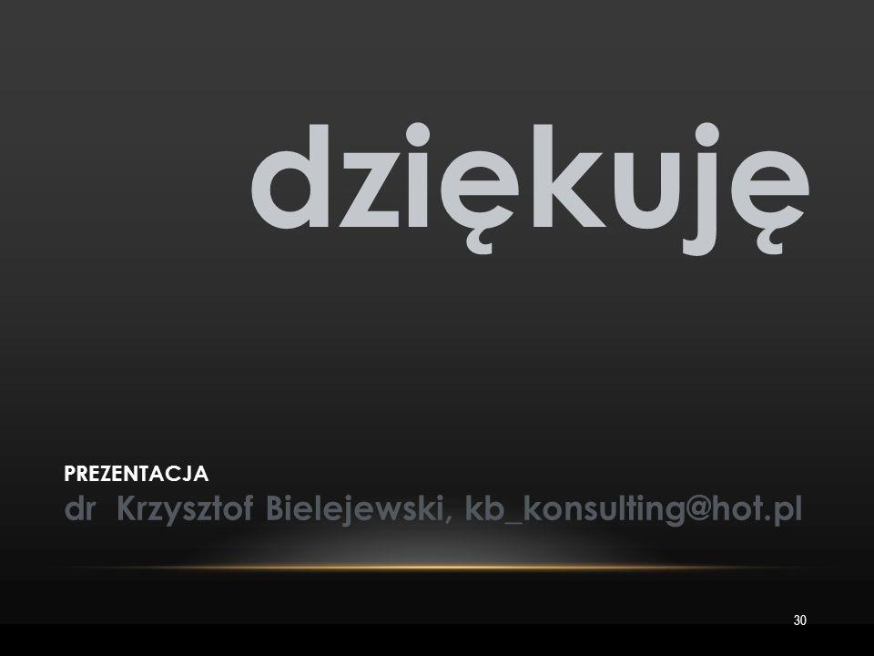 30 dziękuję PREZENTACJA dr Krzysztof Bielejewski, kb_konsulting@hot.pl