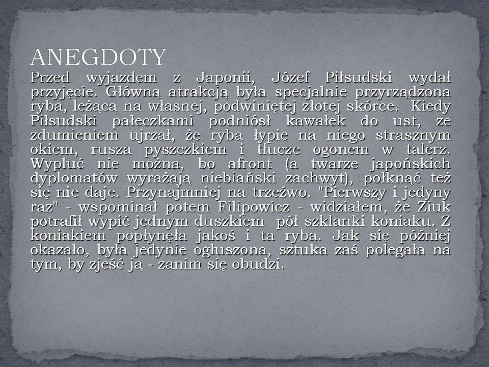 Przed wyjazdem z Japonii, Józef Piłsudski wydał przyjęcie.