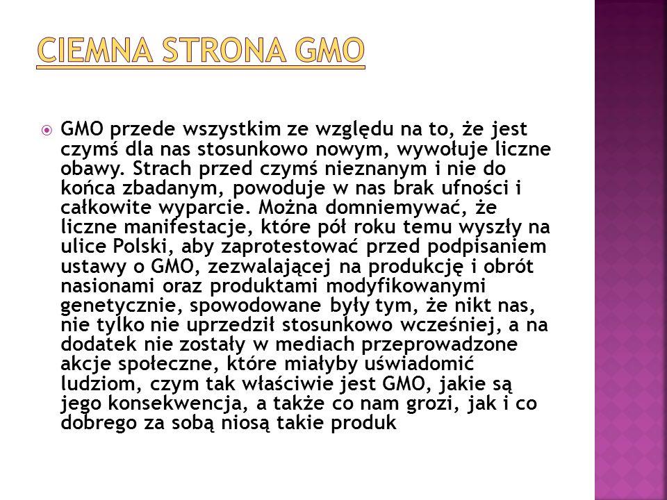  GMO przede wszystkim ze względu na to, że jest czymś dla nas stosunkowo nowym, wywołuje liczne obawy. Strach przed czymś nieznanym i nie do końca zb